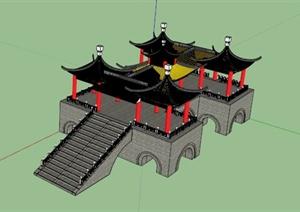 五亭石桥景观小品SU(草图大师)模型