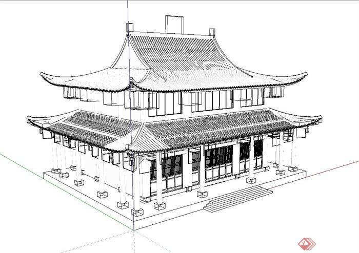 层文化古建筑su模型,该设计风格为古典中式设计风格,为仿古建筑,结构