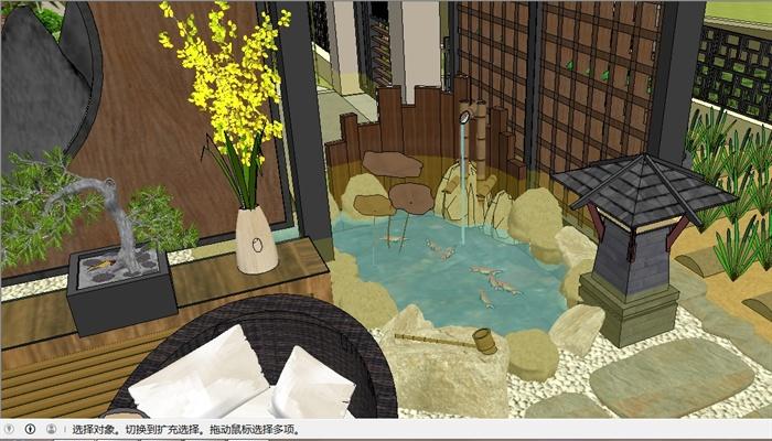 日式别墅入口院子su精细设计模型