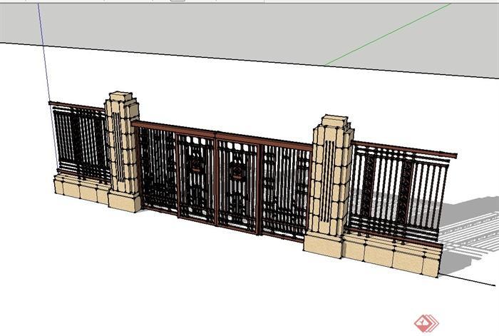 某欧式风格铁艺大门以及围墙设计su模型(2)