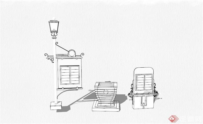 欧式景观灯,花钵,宣传栏景观小品组合su模型(1)
