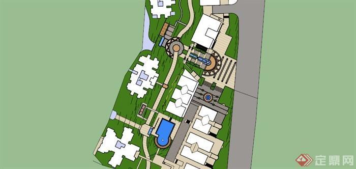 某欧式小区台阶式景观规划设计SU模型,该设计风格为欧式设计风格,呈台阶式景观分布,有入口景观,水池,景墙等,模型制作美观详细,细节部分制作精致,有材质贴图,具有一定参考使用价值,欢迎下载使用。