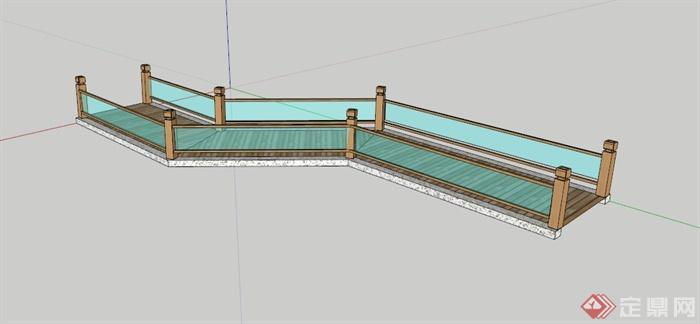 现代折线玻璃围栏木栈道su模型(1)