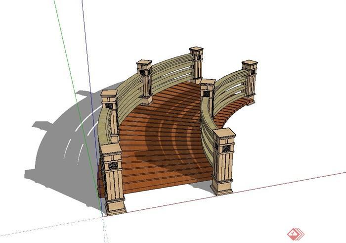 欧式风格木栈道桥设计su模型(2)