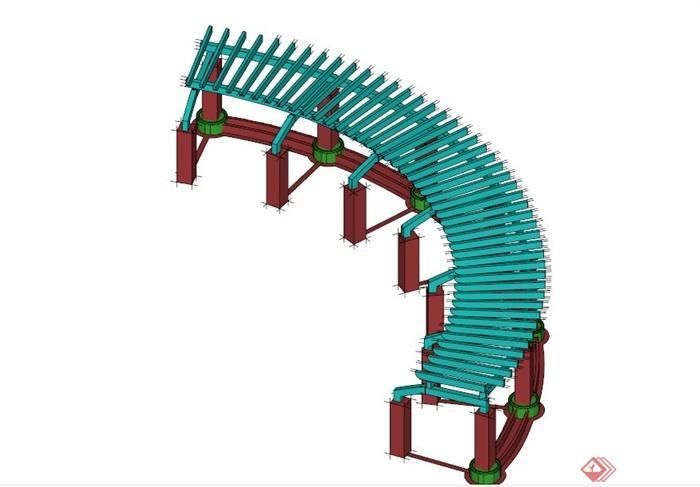 某现代中式木制弧形廊架su模型(1)