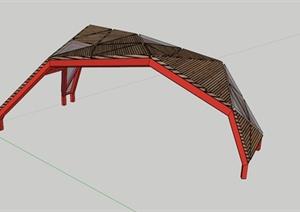 张拉膜木材拼接景观小品SU(草图大师)模型