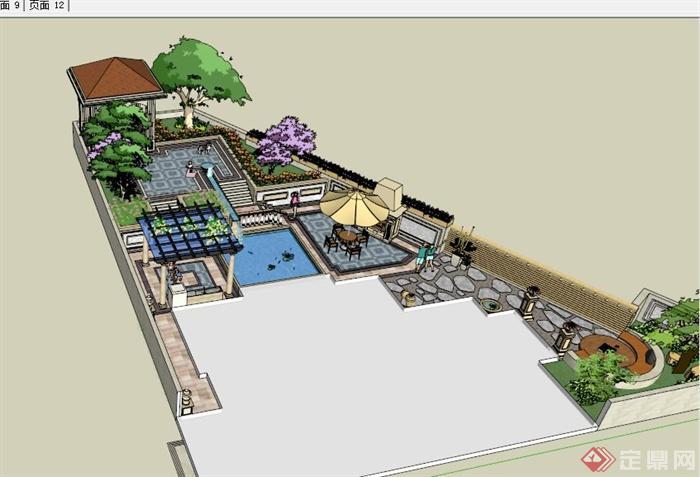 某别墅庭院景观设计SU模型素材