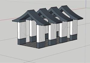 某日式风格廊架设计SU(草图大师)模型