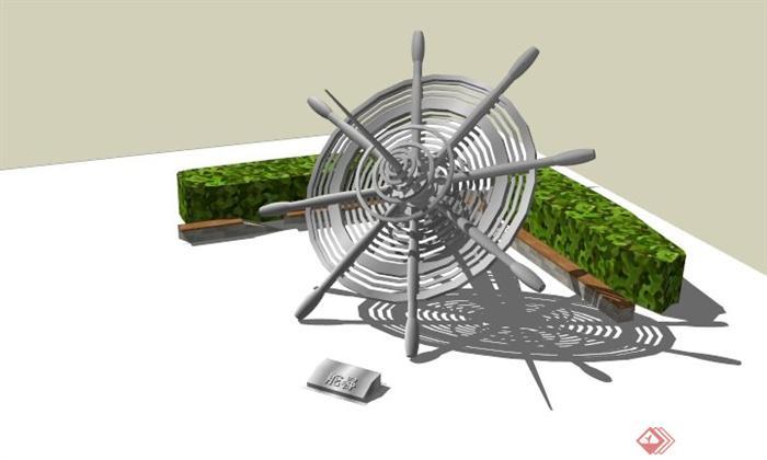 某船舵雕塑小品设计su模型(1)