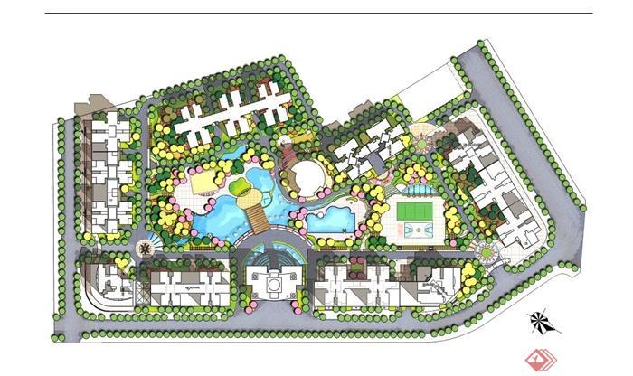 某现代住宅小区景观设计规划平面图psd源文件