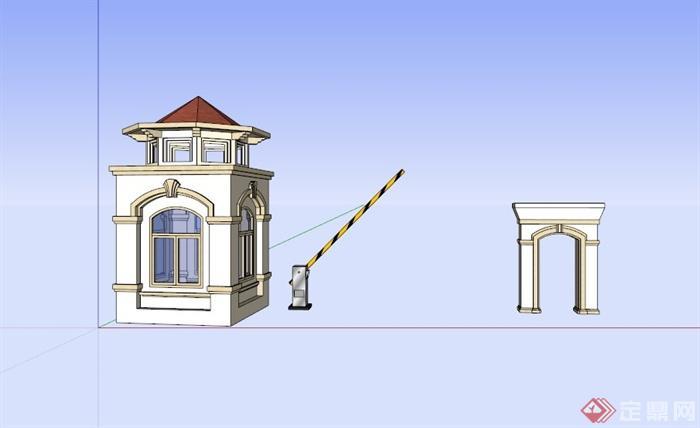 某欧式住宅小区大门设计su模型素材(3)