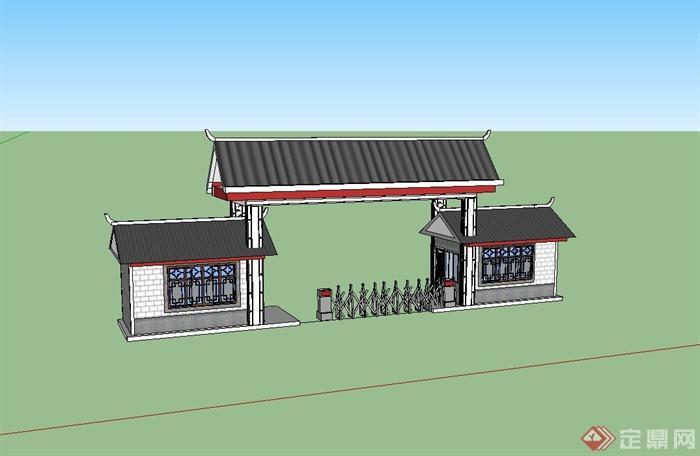 现代中式风格学校大门设计su模型(1)
