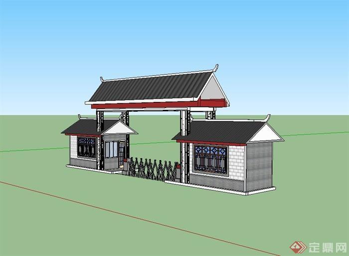 现代中式风格学校大门设计su模型(2)