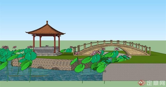 某古典中式庭院景观设计su模型素材[原创]