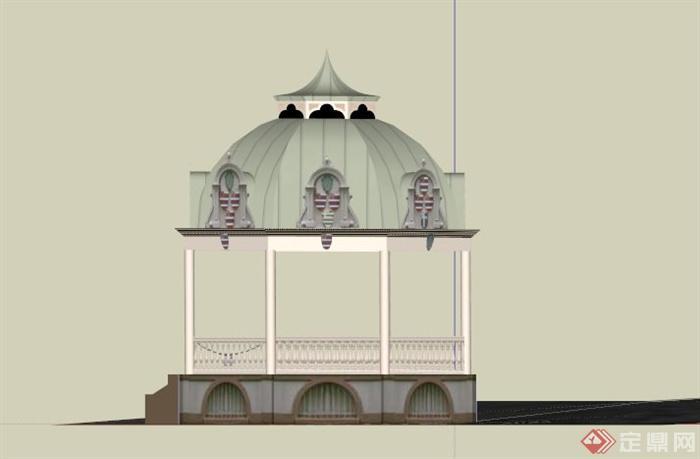 某欧式圆拱形顶亭子su模型(3)