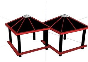 现代红黑廊架组合SU(草图大师)模型