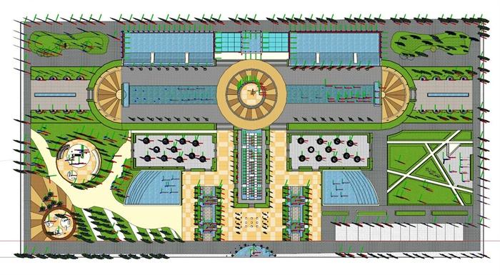 现代喷泉水景公园景观设计su模型