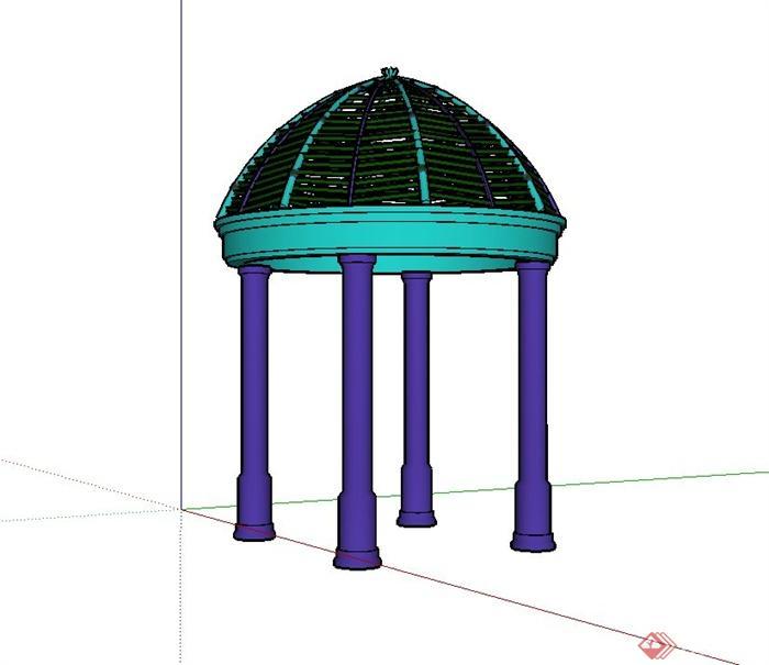 某欧式庭院圆亭设计su模型,该设计造型独特,模型制作非常详细,可以在同类项目中做参考或适当修改后使用。