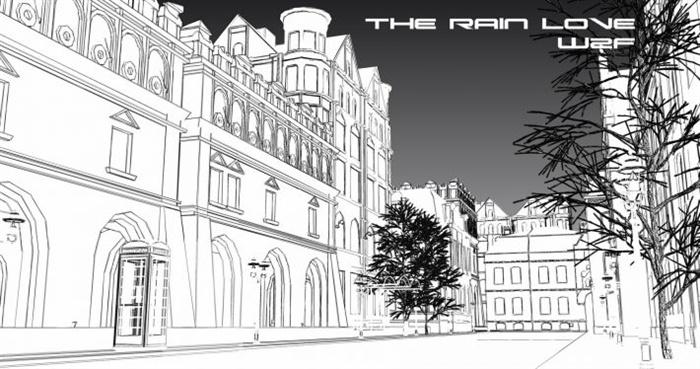 某雨景街道景观设计SU模型图片