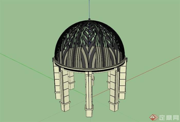 欧式拱形镂空铁艺顶亭子su模型(1)