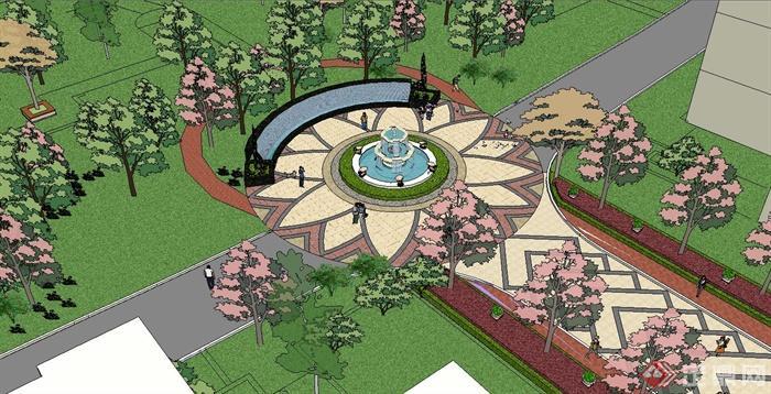 欧式住宅小区中庭景观设计su模型[原创]