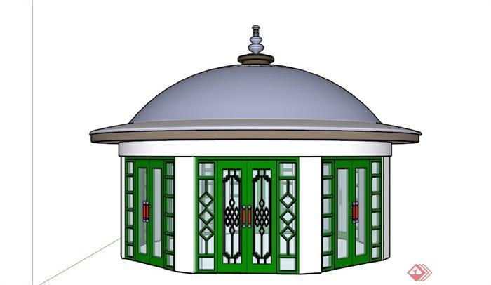 欧式拱形顶亭子商业建筑su模型(3)