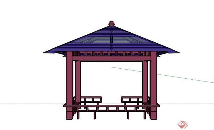 现代中式玻璃木材拼接亭子su模型[原创]