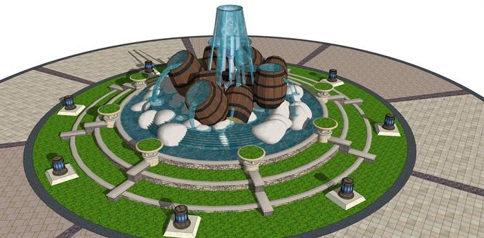 某欧式风格水景中心广场设计su模型[原创]