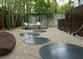 庭院景观,石板汀步,景墙,石子铺装