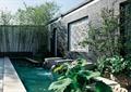 水池景观,荷花池,喷水景墙,竹子围墙