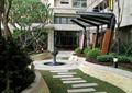 小区景观,石板汀步,雕塑小品,廊架