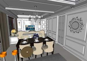 新古典风格室内客厅餐厅装饰设计SU(草图大师)模型