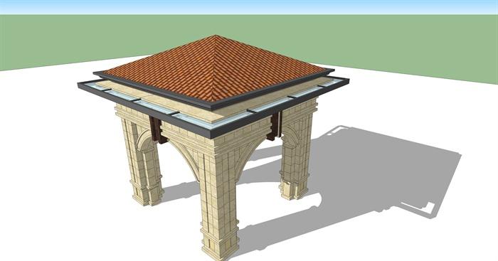 三个欧式亭子设计su模型