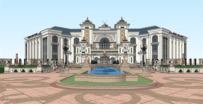 某欧式精致休闲会所建筑设计su模型