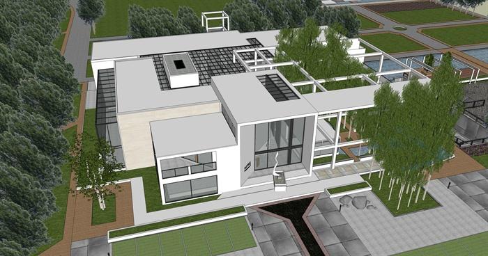 生态餐厅建筑设计su模型