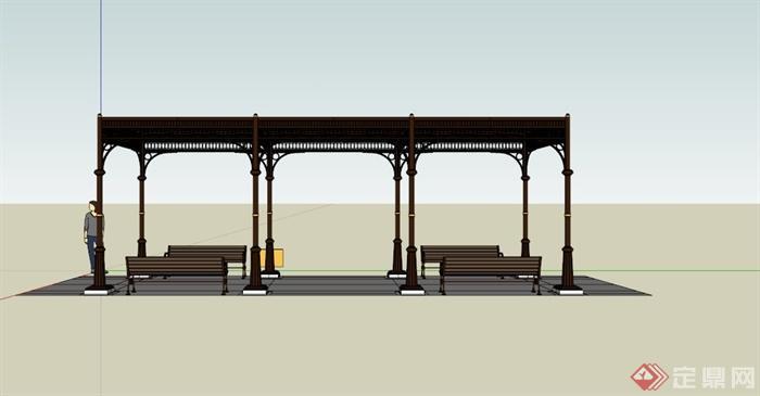 欧式铁艺玻璃廊架su模型(4)