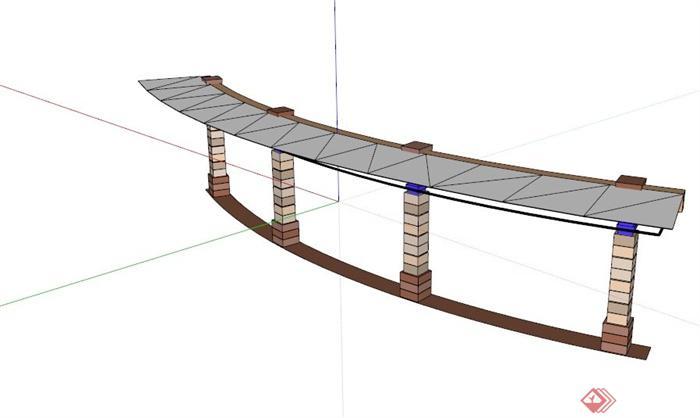 欧式弧形单臂廊架su模型(1)