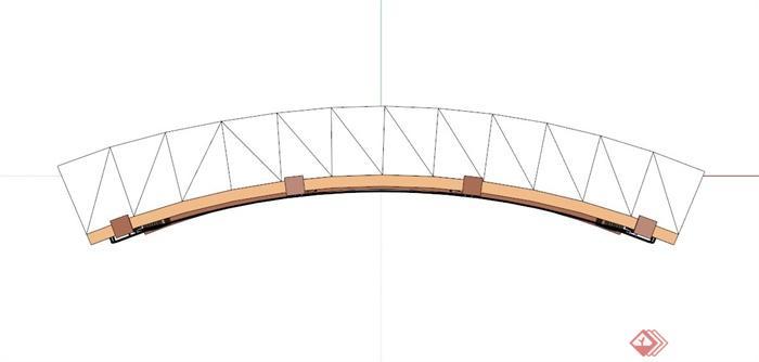 欧式弧形单臂廊架su模型(2)