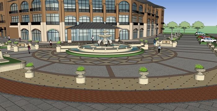 街角景观设计su模型(2)