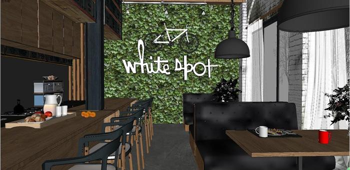 精品loft风格咖啡店室内设计su模型[原创]