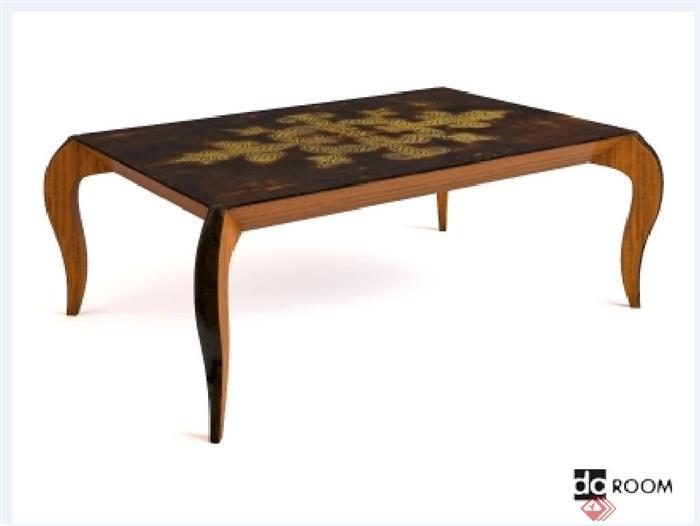 某欧式风格木质桌子设计3d模型(1)