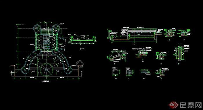 代风格小区喷泉水池设计cad施工图