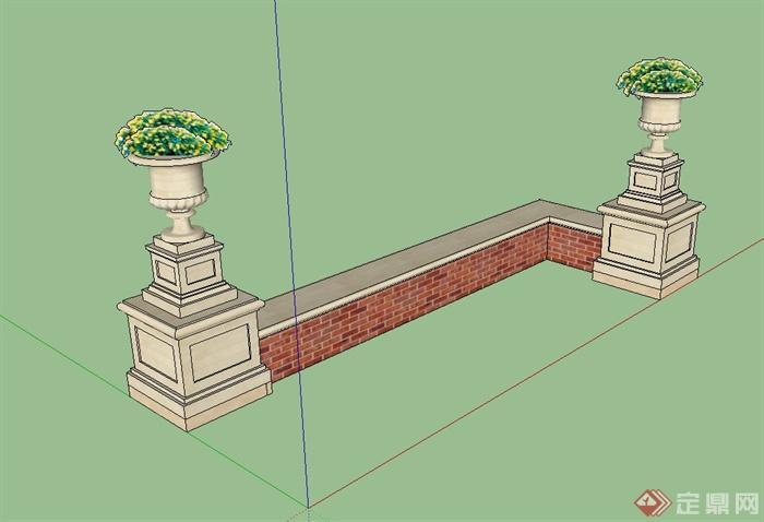 欧式风格砖砌矮墙,花钵组合设计su模型