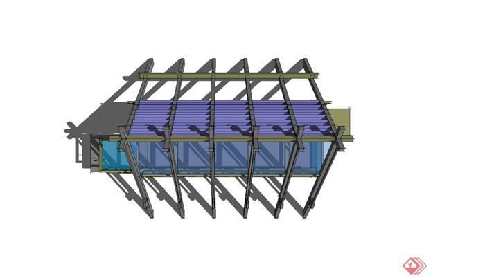 现代玻璃三角形廊架su模型[原创]
