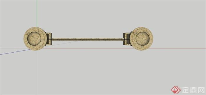 欧式铁艺石柱栏杆su模型(2)