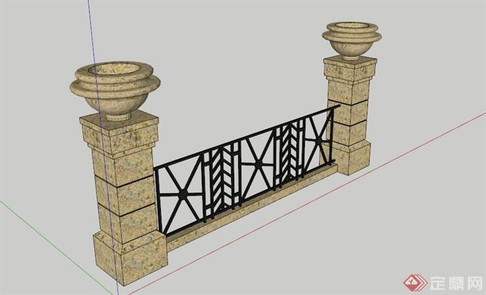欧式铁艺石柱栏杆su模型(1)图片