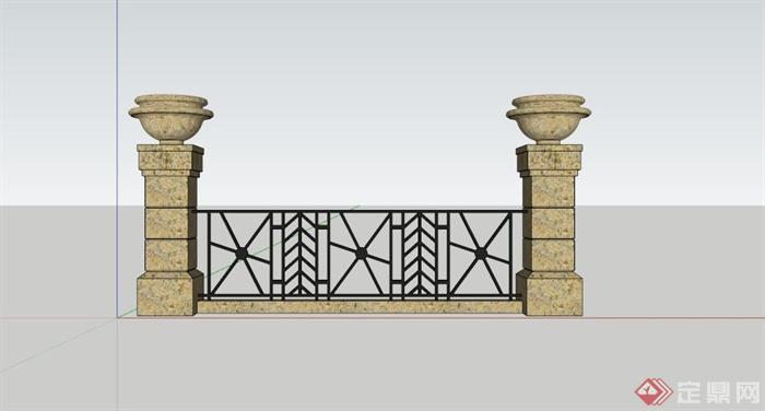欧式铁艺石柱栏杆su模型(3)图片