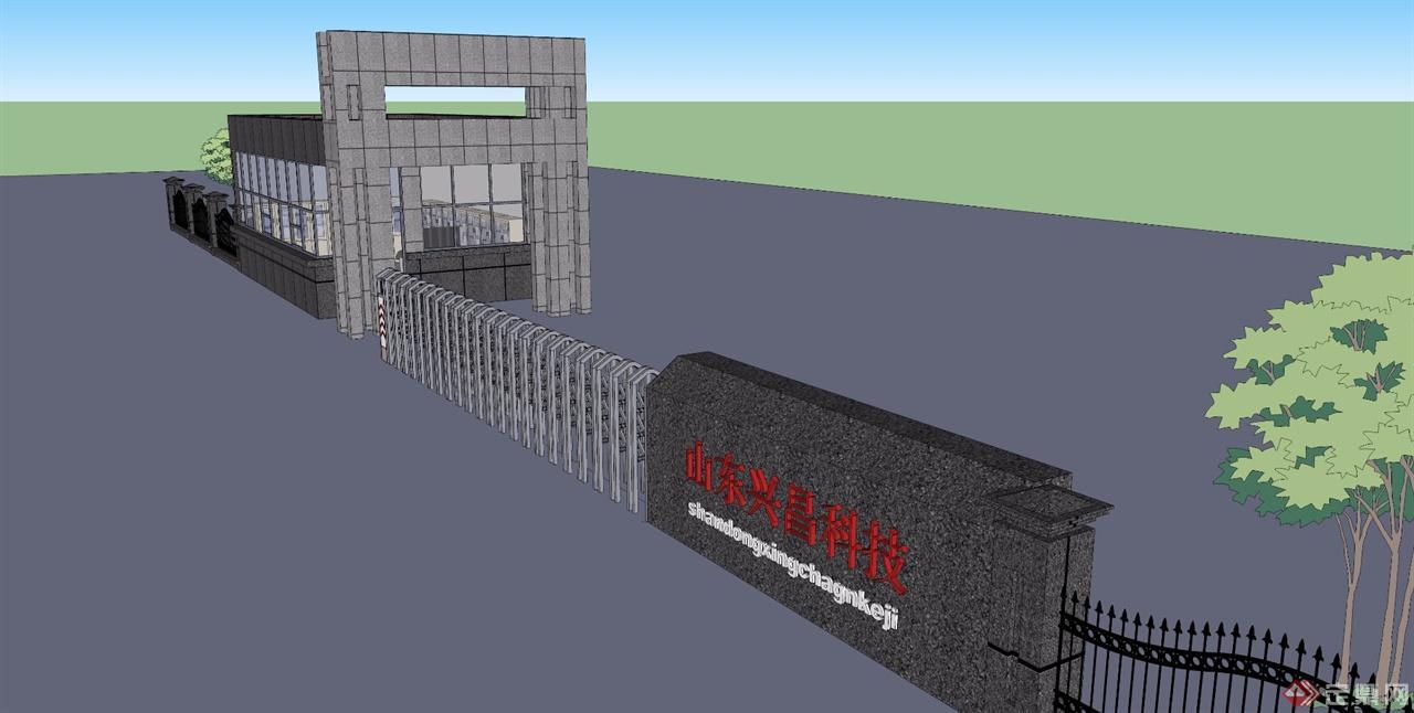 厂区大门入口设计sketchup