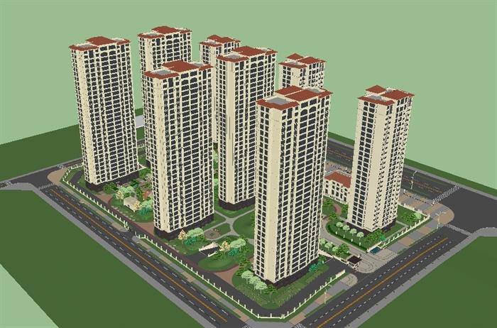 简欧式小区建筑与景观su精致设计模型,模型为欧式风格,模型制作详细完整,可至二级用于小区设计使用,有需要请自行下载使用。