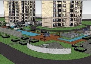 新中式小区室外景观SU(草图大师)精致设计模型